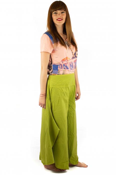 Pantaloni lejeri - Petal Tips Evazat - Lime [4]