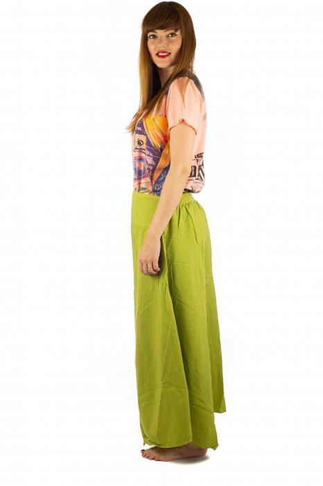 Pantaloni lejeri - Petal Tips Evazat - Lime [2]