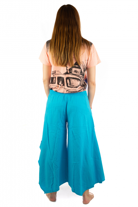Pantaloni lejeri - Petal Tips Evazat - Albastru Deschis [7]