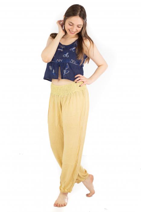 Pantaloni lejeri unicat - Light Yellow 4
