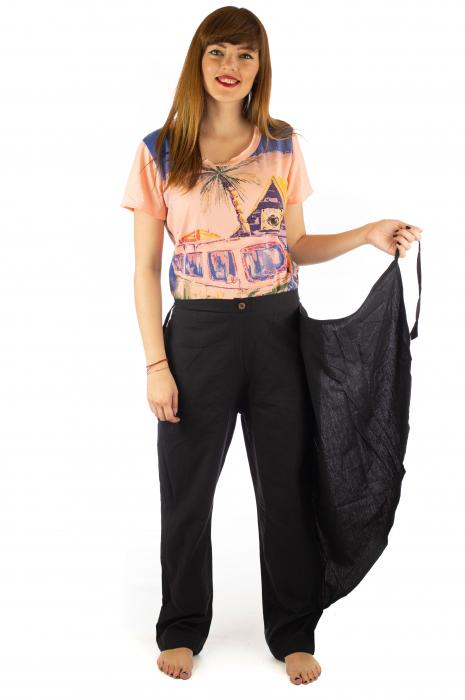 Pantaloni tip fusta din bumbac - Negru SH-92 [4]