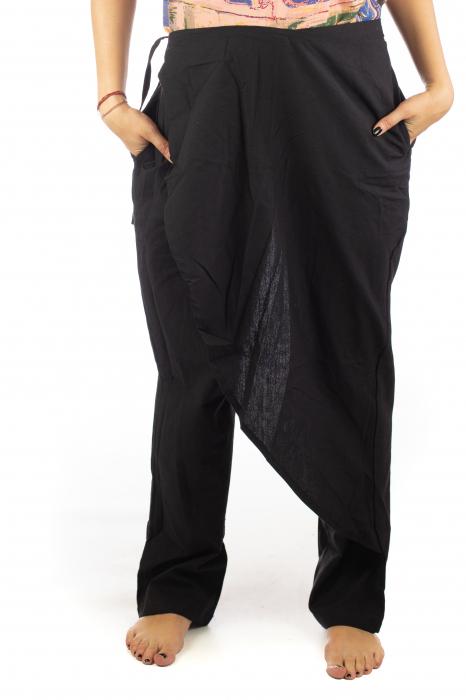Pantaloni tip fusta din bumbac - Negru SH-92 [5]