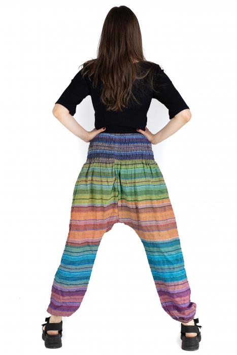 Pantaloni multicolori cu talie inalta din bumbac - Unicat - Model 10 [2]