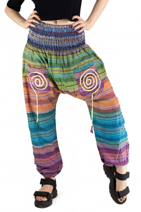 Pantaloni multicolori cu talie inalta din bumbac - Unicat - Model 10 [0]