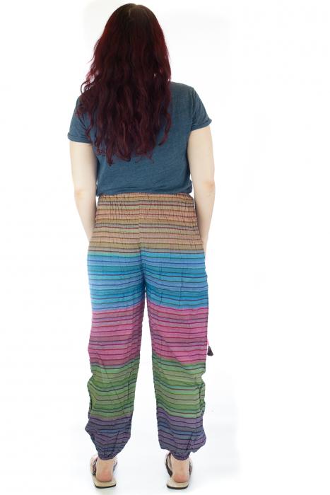 Pantaloni multicolori cu talie inalta din bumbac unicati - M10 2