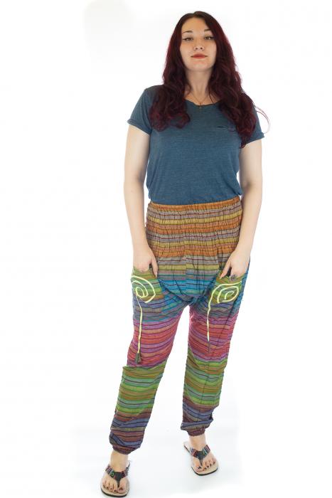 Pantaloni multicolori cu talie inalta din bumbac unicati - M12 0