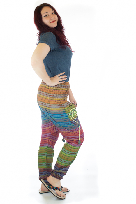 Pantaloni multicolori cu talie inalta din bumbac unicati - M12 1