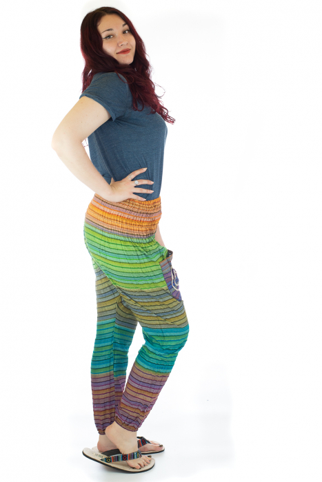 Pantaloni multicolori cu talie inalta din bumbac unicati - M13 1