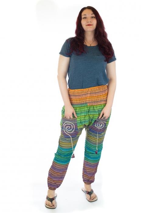 Pantaloni multicolori cu talie inalta din bumbac unicati - M13 0