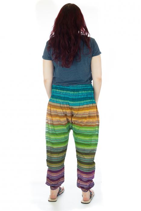 Pantaloni multicolori cu talie inalta din bumbac unicati - M16 2
