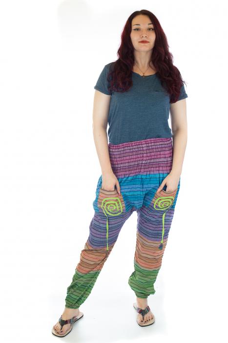 Pantaloni multicolori cu talie inalta din bumbac unicati - M17 0