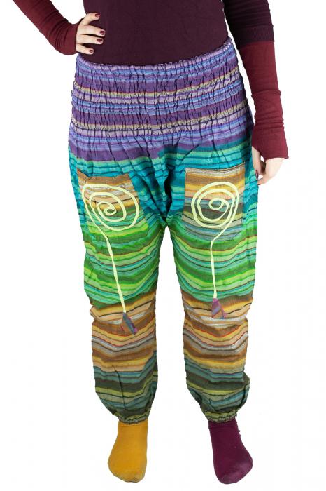 Pantaloni multicolori cu talie inalta din bumbac unicati - M18 0