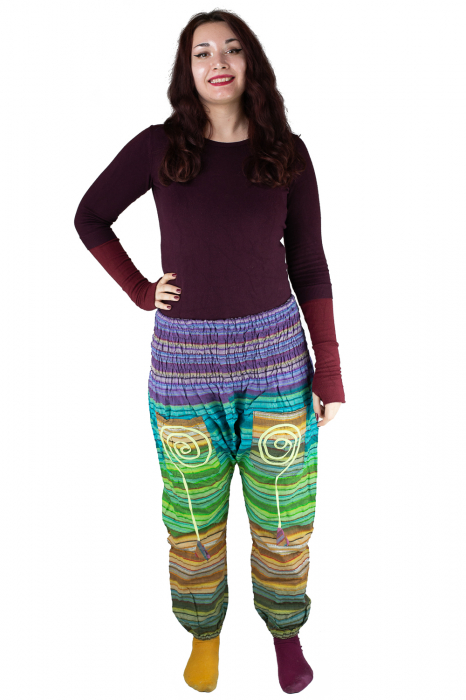 Pantaloni multicolori cu talie inalta din bumbac unicati - M18 1
