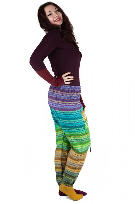 Pantaloni multicolori cu talie inalta din bumbac unicati - M18 2