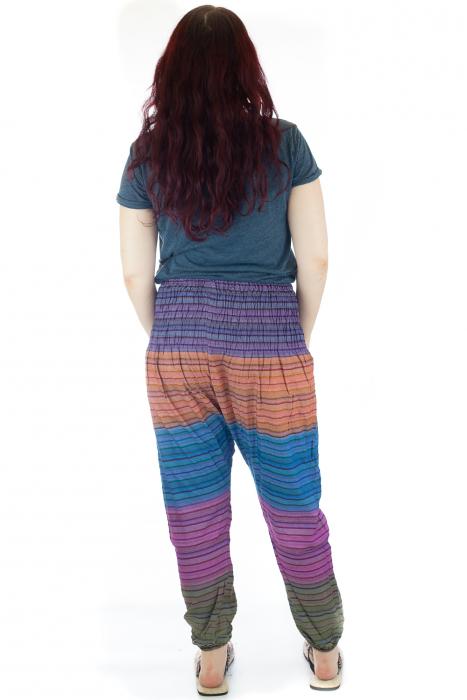 Pantaloni multicolori cu talie inalta din bumbac unicati - M19 2