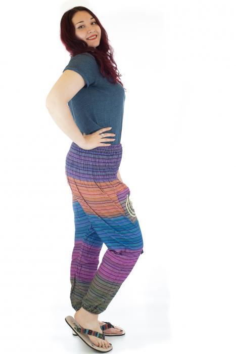 Pantaloni multicolori cu talie inalta din bumbac unicati - M19 1