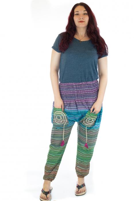 Pantaloni multicolori cu talie inalta din bumbac unicati - M24 0