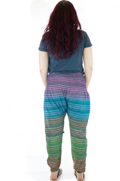 Pantaloni multicolori cu talie inalta din bumbac unicati - M24 2