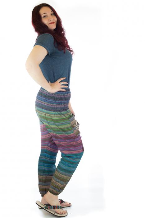 Pantaloni multicolori cu talie inalta din bumbac unicati - M3 1