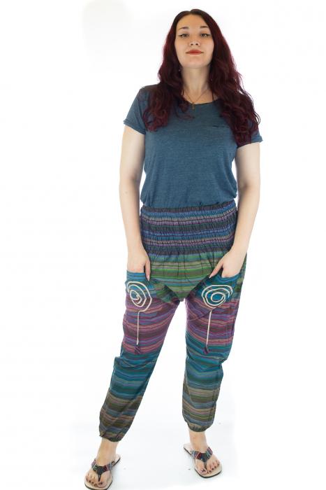 Pantaloni multicolori cu talie inalta din bumbac unicati - M6 0