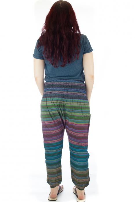 Pantaloni multicolori cu talie inalta din bumbac unicati - M6 2