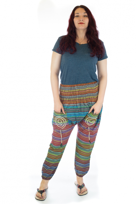 Pantaloni multicolori cu talie inalta din bumbac unicati - M8 0