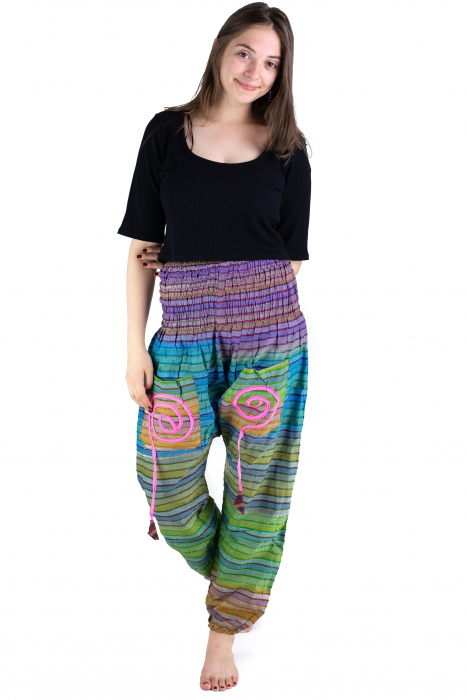 Pantaloni multicolori cu talie inalta din bumbac - Unicati - Model 9 - CT22 [1]