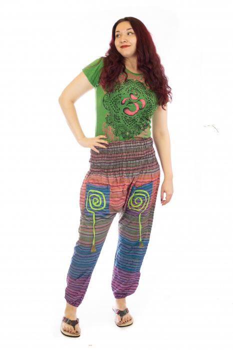 Pantaloni multicolori cu talie inalta din bumbac unicati - Spirala model 3 0