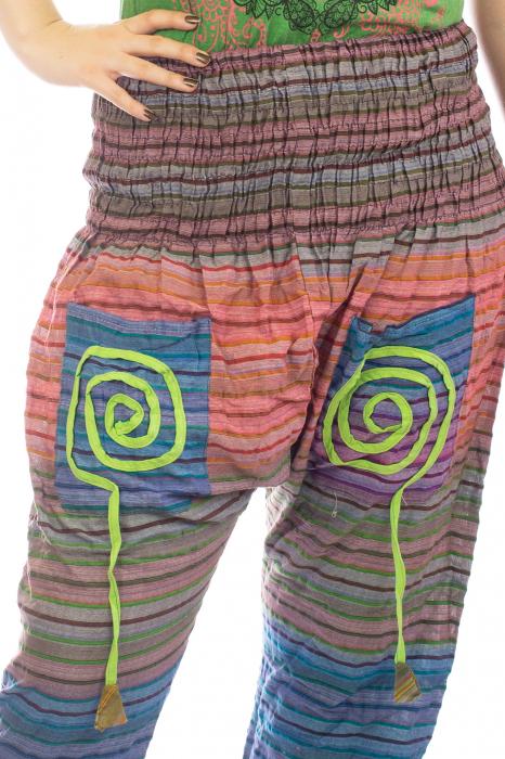 Pantaloni multicolori cu talie inalta din bumbac unicati - Spirala model 3 1