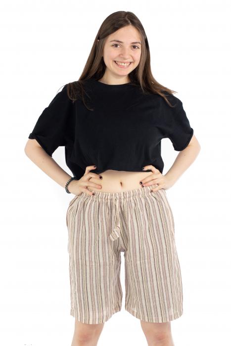Pantaloni scurti in dungi - Crem [1]
