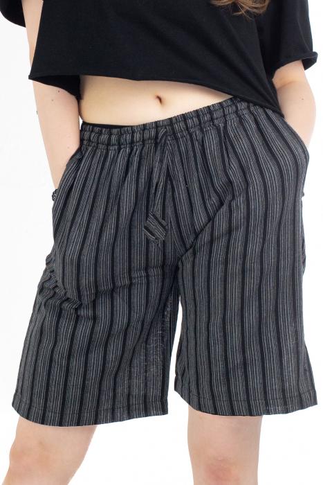 Pantaloni scurti in dungi - Negru [0]