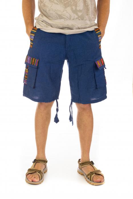 Pantaloni scurti de barbati model etno - Albastru [0]