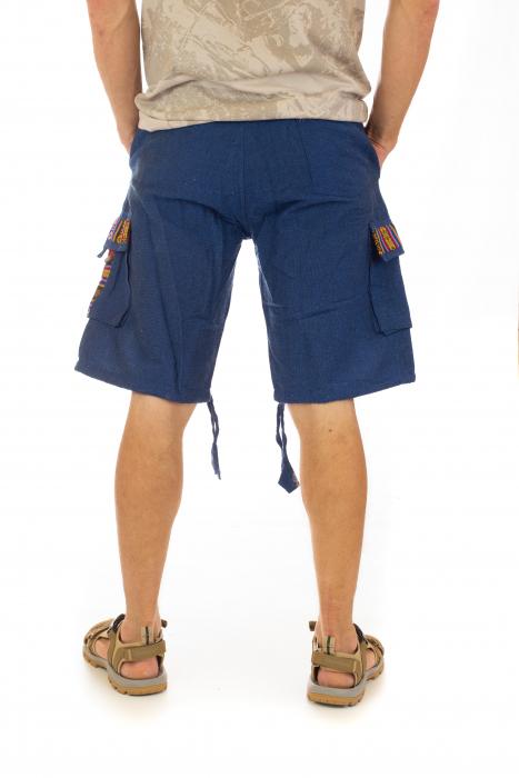 Pantaloni scurti de barbati model etno - Albastru [2]