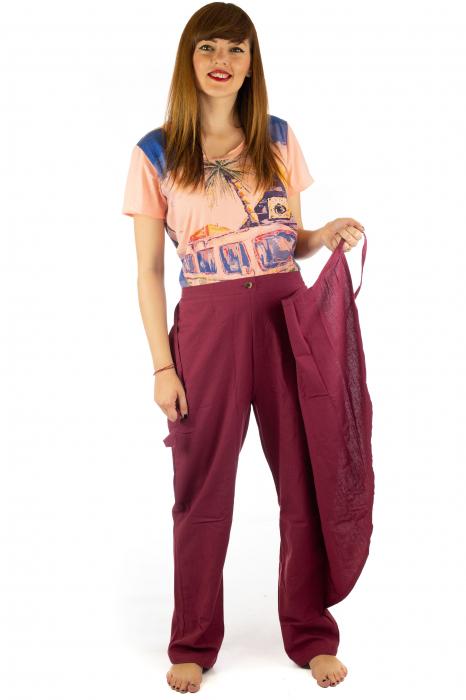 Pantaloni tip fusta din bumbac - Visiniu SH-92 4