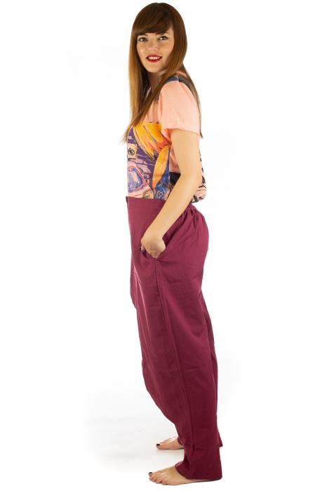 Pantaloni tip fusta din bumbac - Visiniu SH-92 3