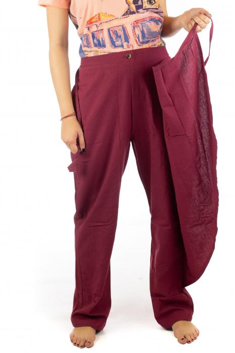 Pantaloni tip fusta din bumbac - Visiniu SH-92 5