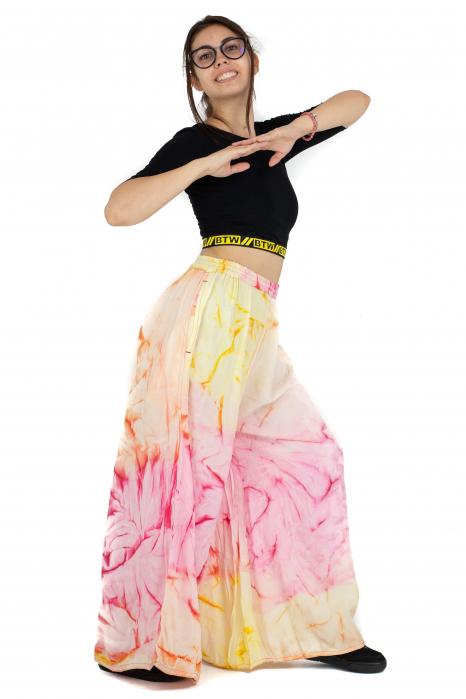 Pantaloni tip petala Tie-Dye - Multicolori [4]