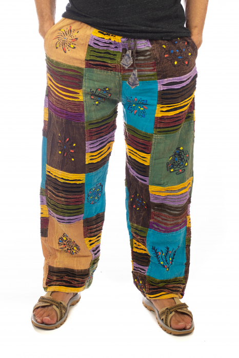 Pantaloni tip razor cut cu pacth - Model 7 0