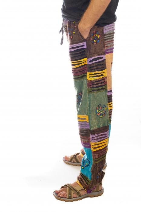 Pantaloni tip razor cut cu pacth - Model 7 2