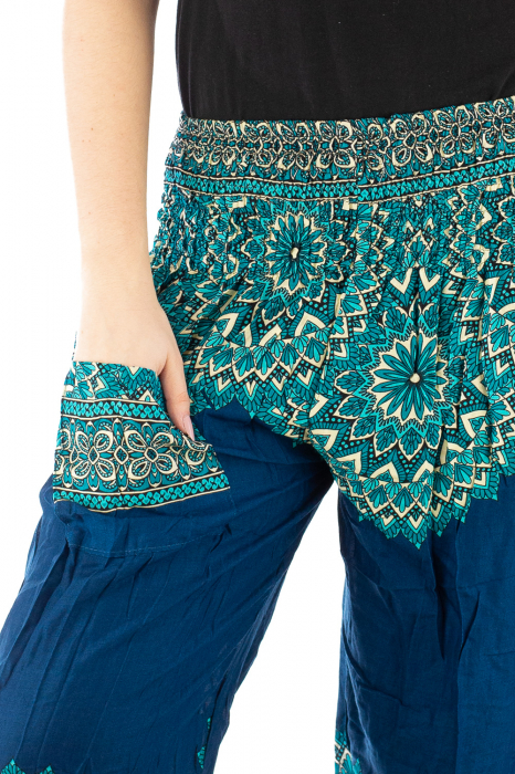 Pantaloni tip salvar femei mandala turcoaz 4