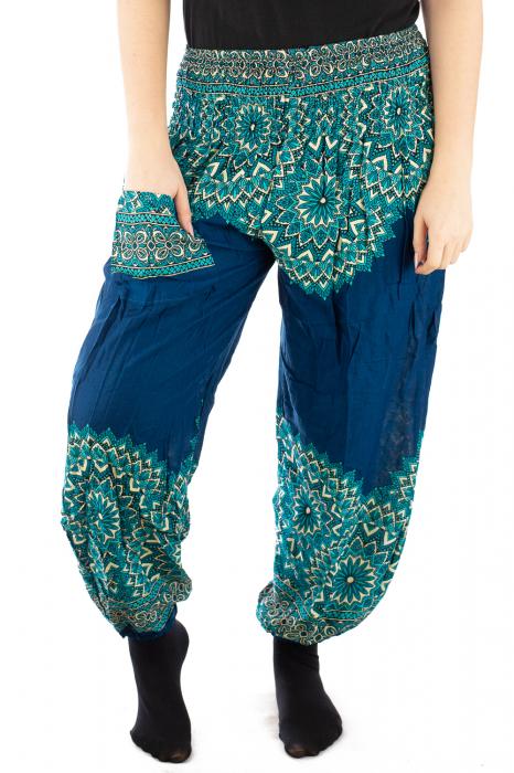 Pantaloni tip salvar femei mandala turcoaz 3
