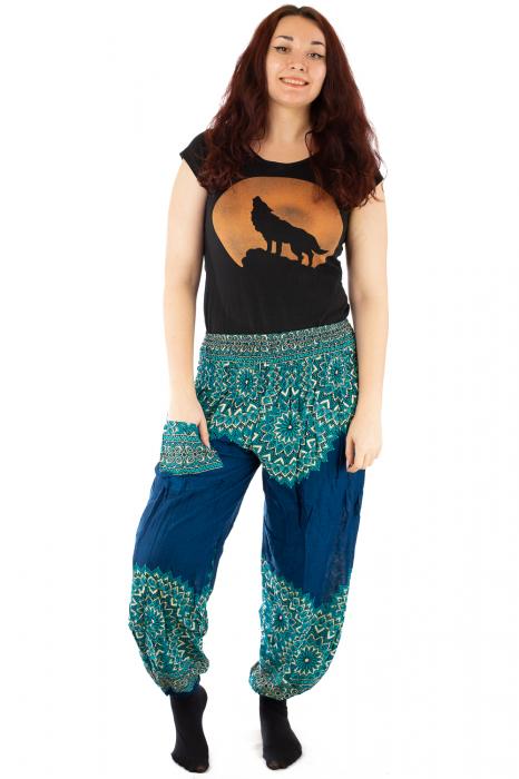 Pantaloni tip salvar femei mandala turcoaz 0