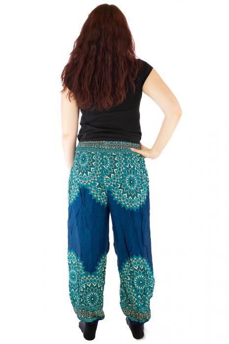 Pantaloni tip salvar femei mandala turcoaz 2