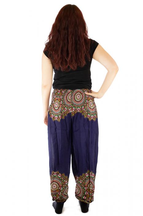 Pantaloni tip salvar femei mandala orientala bleumarin 2