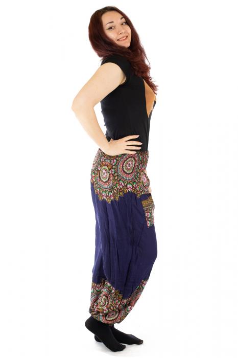 Pantaloni tip salvar femei mandala orientala bleumarin 1