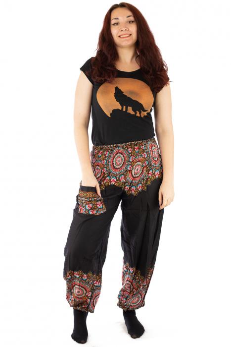 Pantaloni tip salvar femei mandala orientala negri 0