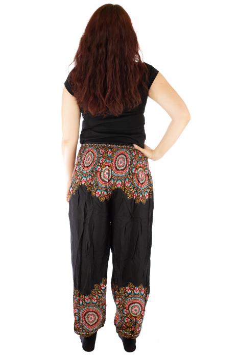 Pantaloni tip salvar femei mandala orientala negri 2
