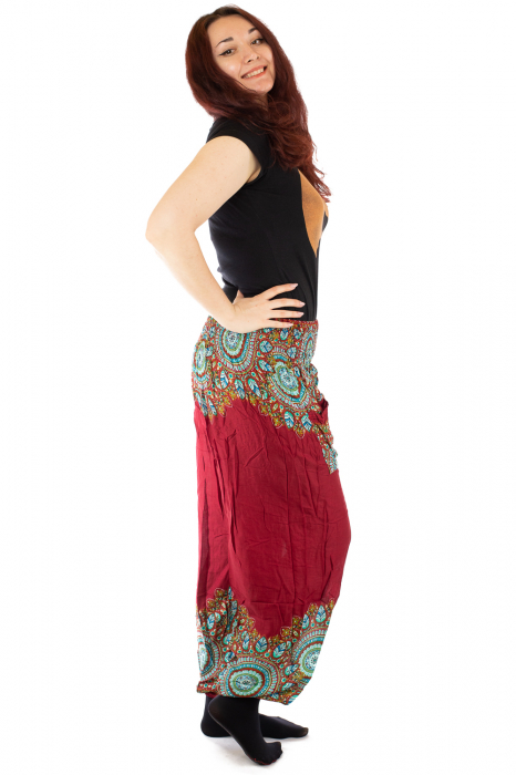 Pantaloni tip salvar femei mandala orientala rosu 1