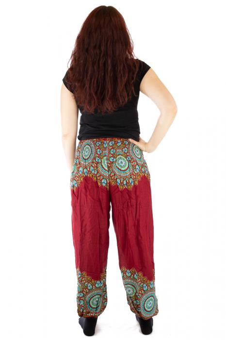 Pantaloni tip salvar femei mandala orientala rosu 2