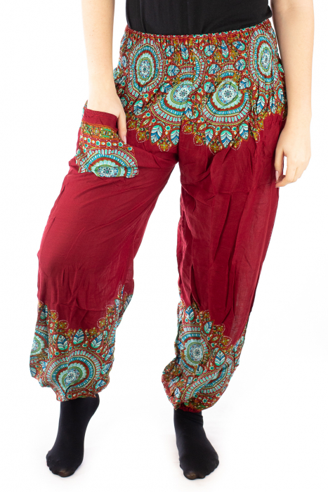 Pantaloni tip salvar femei mandala orientala rosu 3